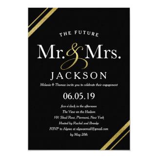 Elegant Gold Glitter Future Mr. & Mrs. Engagement 13 Cm X 18 Cm Invitation Card