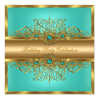 Elegant Gold Jade Teal Pearls Birthday Party 13 Cm X 13 Cm Square Invitation Card