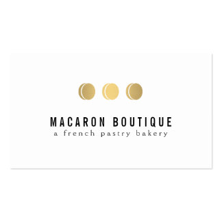 Elegant Gold Macaron Trio Logo on White Pack Of Standard Business Cards