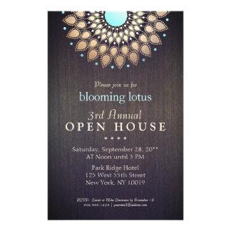 Elegant Gold Ornate Lotus Mandala Wood Event 14 Cm X 21.5 Cm Flyer
