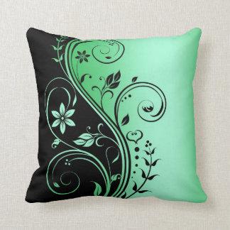 Elegant Green Floral Scroll Black Pillow Throw Cushions