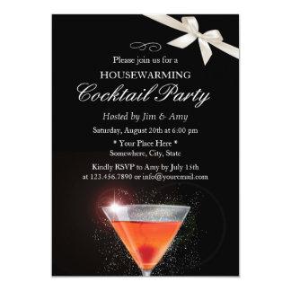 Elegant Ivory Ribbon Housewarming Cocktail Party 13 Cm X 18 Cm Invitation Card