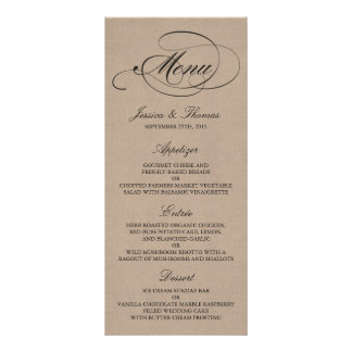 Elegant Kraft Wedding Menu Templates Personalized Rack Card