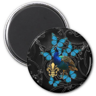 Elegant Peacock and blue butterflies on black 6 Cm Round Magnet