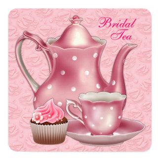 Elegant Pink Bridal Tea Party 13 Cm X 13 Cm Square Invitation Card