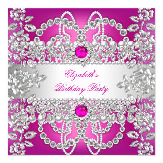 Elegant Pink Diamonds Silver Floral Birthday Party 13 Cm X 13 Cm Square Invitation Card