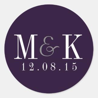 Elegant Plum Purple Monogram Wedding Sticker
