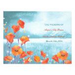 Elegant Poppy Illustration Wedding Program 21.5 Cm X 28 Cm Flyer