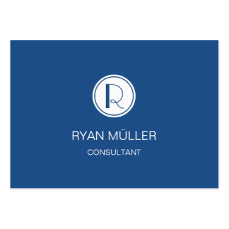 Elegant Professional Classic Blue and Monogram Pack Of Chubby Business Cards