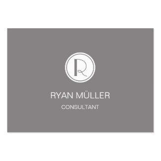 Elegant Professional Titanium and Monogram Pack Of Chubby Business Cards