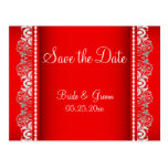 Elegant Red and Silver Lace Style | Personalise Postcard