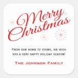 Elegant Red Script Merry Christmas Favour Labels Square Sticker