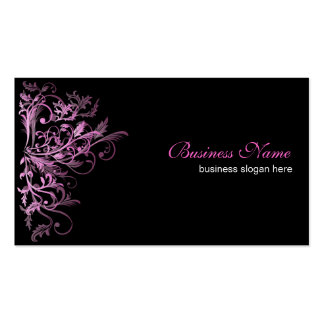 Elegant Retro Pink Flower Swirls Pack Of Standard Business Cards