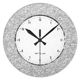 Elegant Retro White Glitter And Sparkles Wall Clocks