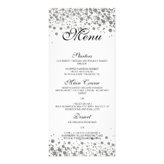 Elegant silver Wedding Menu Rack Card