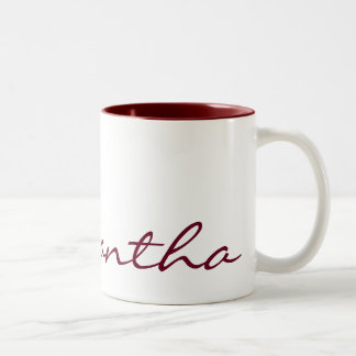 elegant simple modern chic trendy monogram red Two-Tone mug