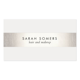 Elegant Stylish White Modern FAUX Silver Striped Pack Of Standard Business Cards