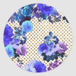 Elegant Teal Floral Pattern Girly Gold Polka Dots Round Sticker