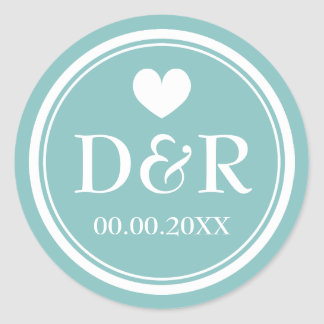 Elegant teal monogrammed wedding favor stickers