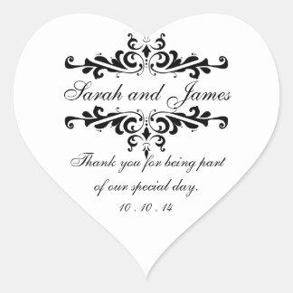 Elegant Thank You Wedding Favor Stickers Heart