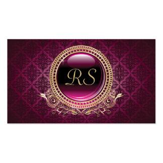 Elegant Vintage Floral Monogram Gold and Purple Pack Of Standard Business Cards