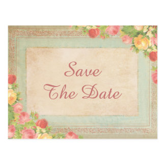 Elegant Vintage Roses 40th Save The Date Postcard