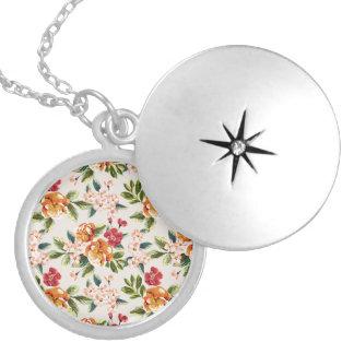 Elegant Vintage Watercolor Flowers Pattern Round Locket Necklace