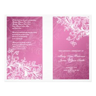 Elegant Wedding Program Vintage Swirls Pink 21.5 Cm X 28 Cm Flyer