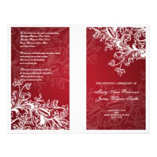 Elegant Wedding Program Vintage Swirls Red 21.5 Cm X 28 Cm Flyer