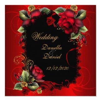 Elegant Wedding Red Roses Gold 13 Cm X 13 Cm Square Invitation Card