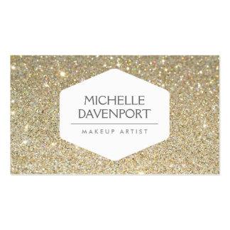 ELEGANT WHITE EMBLEM ON GOLD GLITTER BACKGROUND PACK OF STANDARD BUSINESS CARDS
