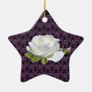 Elegant White Roses Star Ornament
