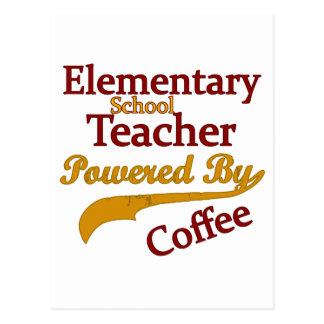 Elementary School Teacher Powered By Coffee Postcard