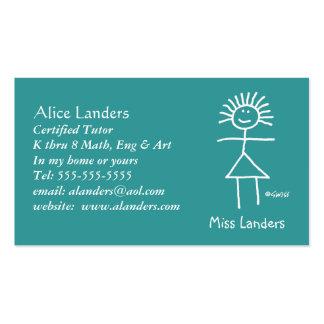 Elementary Tutor Teacher Chalk Stick Figure Pack Of Standard Business Cards