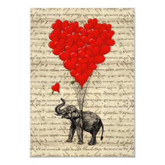 Elephant and heart shaped balloons 9 cm x 13 cm invitation card