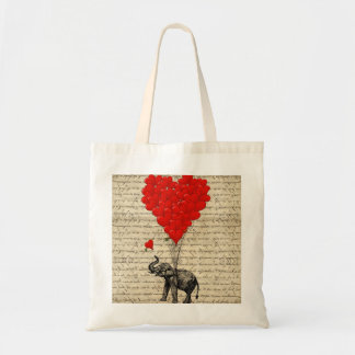 Elephant and heart shaped balloons budget tote bag