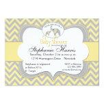 Elephant Baby Shower in Chevron Yellow and Grey 13 Cm X 18 Cm Invitation Card