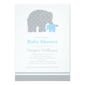 Elephant Baby Shower Invitations | Light Blue Gray