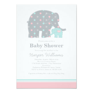 Elephant Baby Shower Invitations | Pink Blue Gray