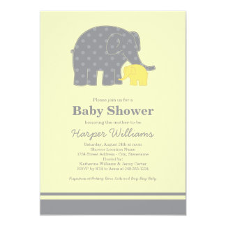 Elephant Baby Shower Invitations | Yellow & Gray