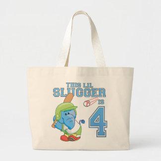 Elephant Baseball 4th Birthday Jumbo Tote Bag