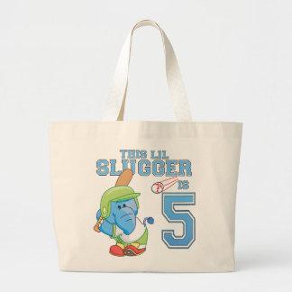 Elephant Baseball 5th Birthday Jumbo Tote Bag