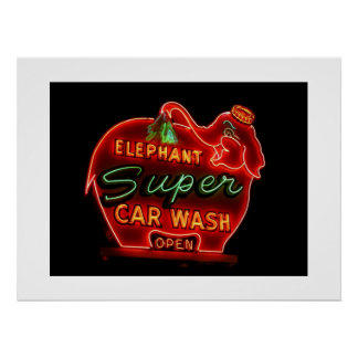 Elephant Car Wash-Print Poster