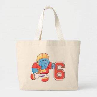 Elephant Football 6th Birthday Jumbo Tote Bag