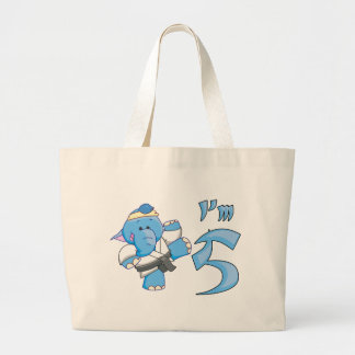 Elephant Karate 5th Birthday Jumbo Tote Bag
