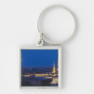 Elevated view of the Television Tower Silver-Colored Square Key Ring