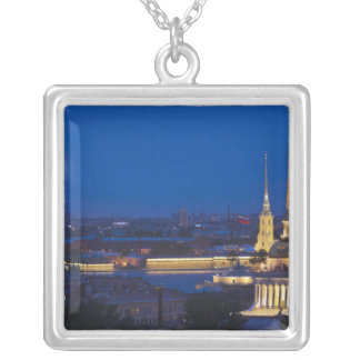 Elevated view of the Television Tower Square Pendant Necklace