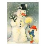 Elf and Snowman Vintage Christmas Postcard