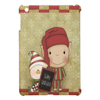 Elf and Snowman with a Happy Holiday Sign iPad Mini Cases