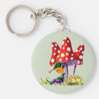 ELF & MUSHROOMS by SHARON SHARPE Basic Round Button Key Ring
